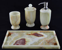 Load image into Gallery viewer, Pistachio Green Onyx 4-Piece Bath Accessory Set with Vanity Tray - Nature Home Decor
