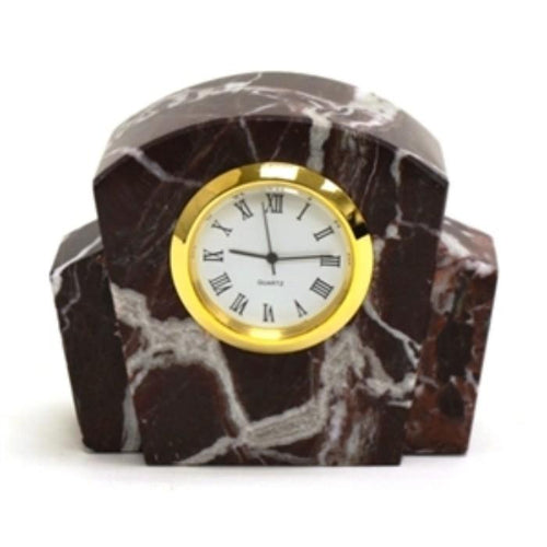 Red Zebra Marble Small Executive Desk Clock - Nature Home Decor