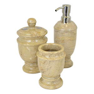 Sahara Beige Marble 3-Piece Bathroom Accessories Sets - Nature Home Decor