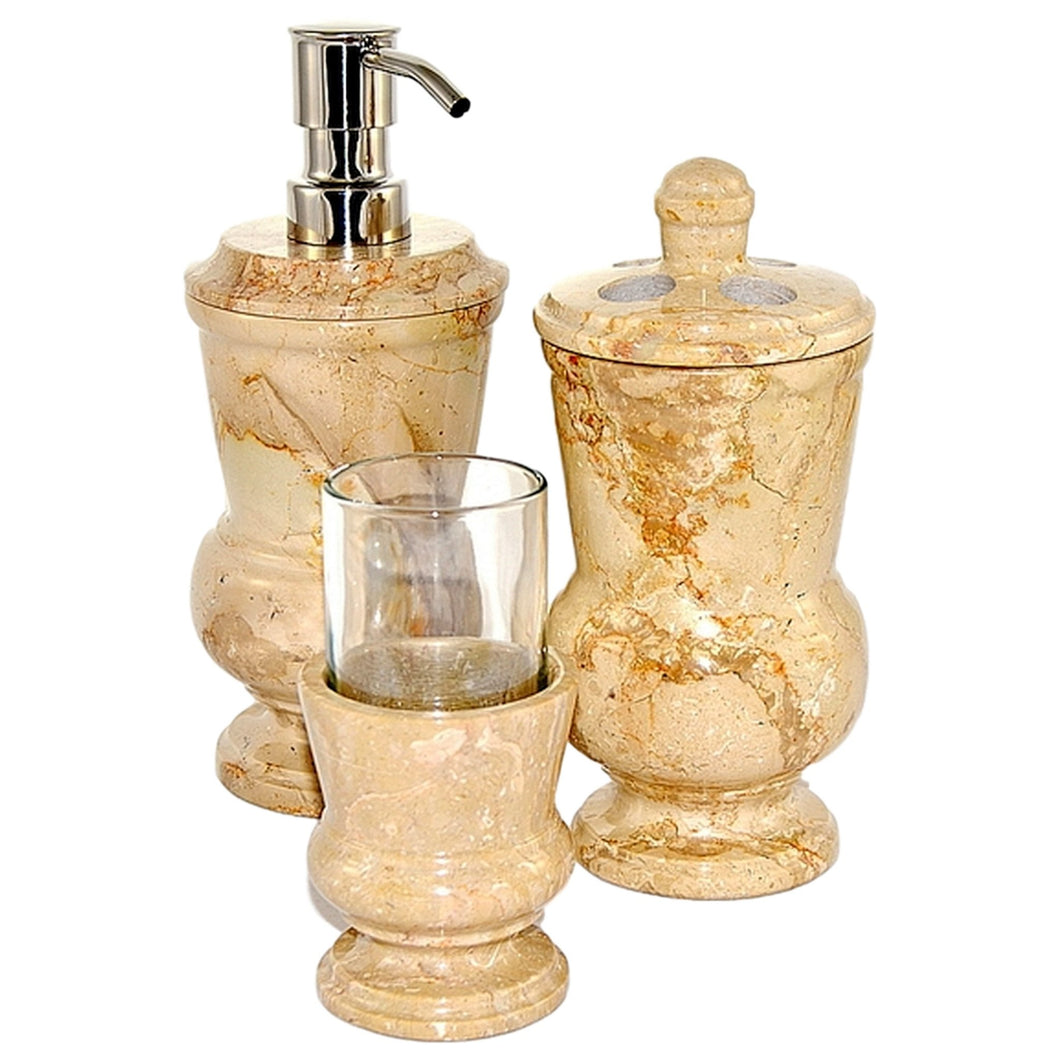 Sahara Beige Marble 3-Piece Bathroom Accessory Set - Nature Home Decor