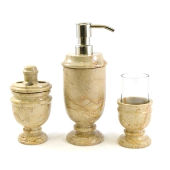 Sahara Beige Marble 3 Piece Bathroom Accessory Set of Siberian Collection - Nature Home Decor