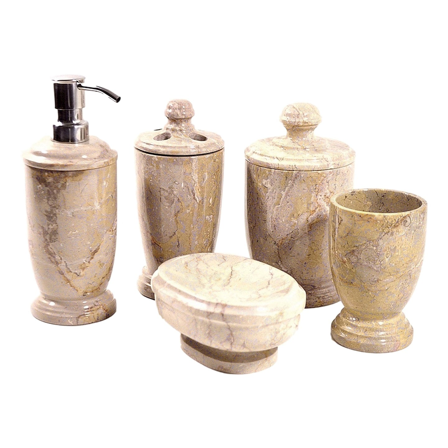 Sahara Beige Marble 5-Piece Bathroom Accessory Set of Atlantic Collection - Nature Home Decor