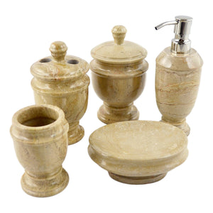 Sahara Beige Marble 5 Piece Bathroom Accessory Set | Siberian Collection - Nature Home Decor