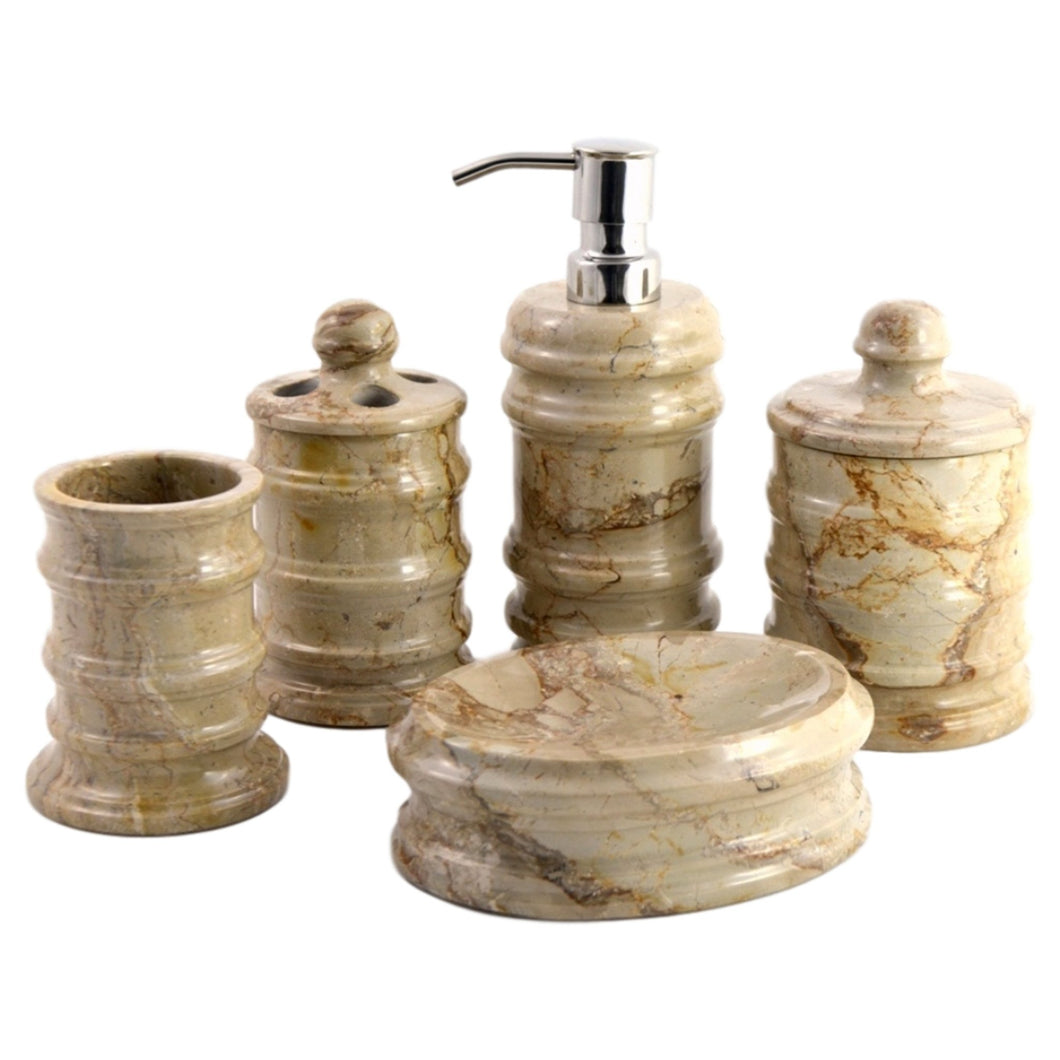 Sahara Beige Marble 5-Piece Bathroom Accessory Sets of Bengal Collection - Nature Home Decor