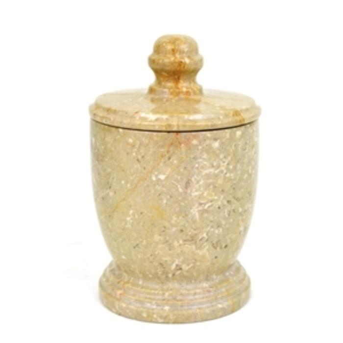 Sahara Beige Marble Bathroom Canister - Nature Home Decor