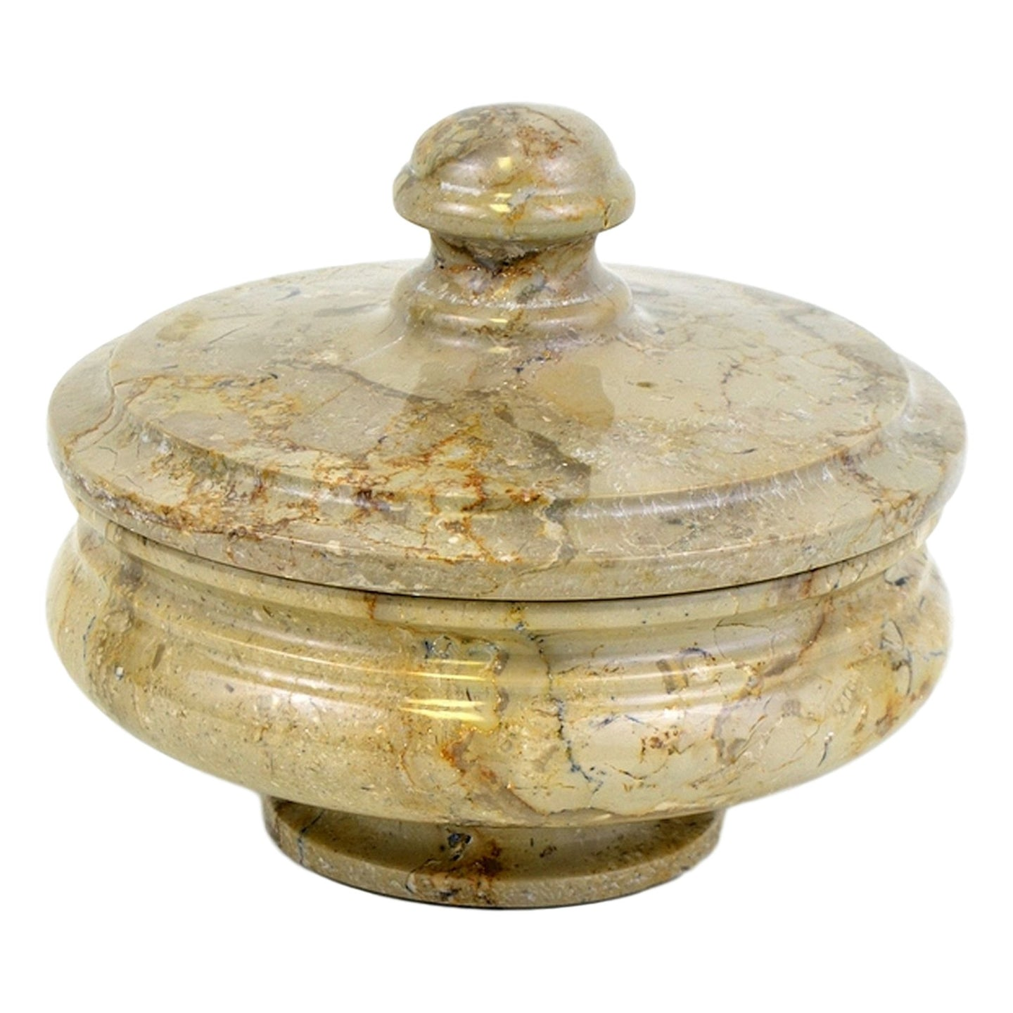 Sahara Beige Marble Bathroom Canister | Cotton Balls Holder - Nature Home Decor
