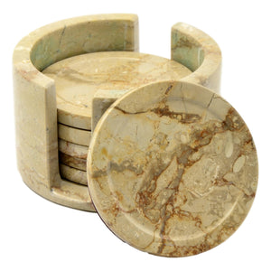 Sahara Beige Marble Coasters with Round Holder - Nature Home Decor