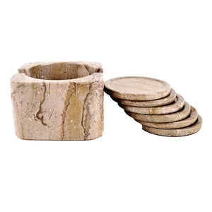 Sahara Beige Marble Coasters with Square Holder - Nature Home Decor