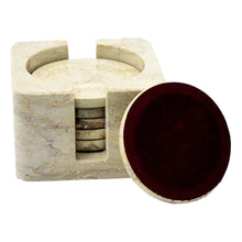 Load image into Gallery viewer, Sahara Beige Marble Coasters with Square Holder - Nature Home Decor