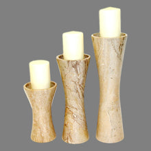 Load image into Gallery viewer, Sahara Beige Marble Pillar Candle Holder Set - Nature Home Decor