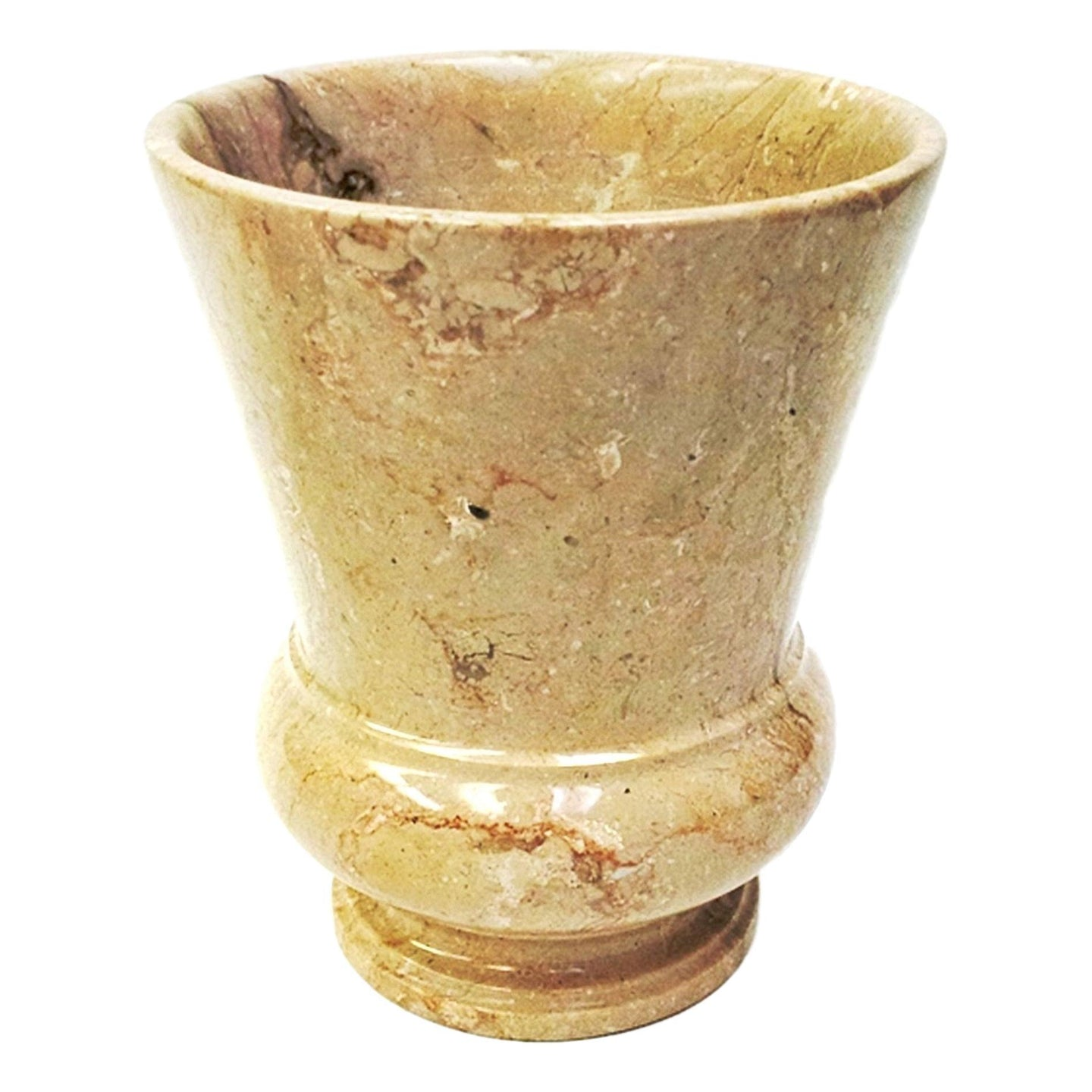 Sahara Beige Marble Wastebasket of Mediterranean Collection - Nature Home Decor