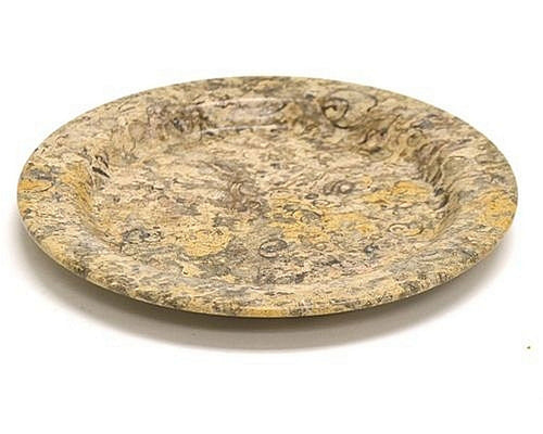 Serving Plate of Fossil Stone | 6-inch Round - Nature Home Decor