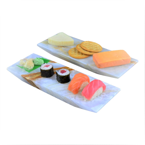 Sushi Boat | Elegant White Onyx Sushi Set for Two - Nature Home Decor