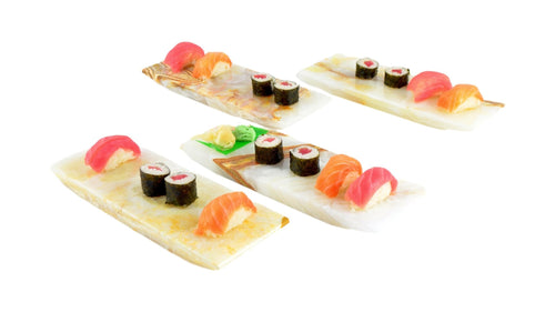 Sushi Plates Crafted from White Onyx - Nature Home Decor