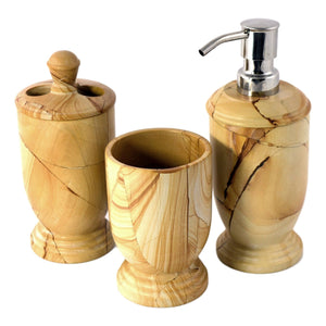Teak Marble 3-Piece Bathroom Accessory Set | Atlantic Collection - Nature Home Decor