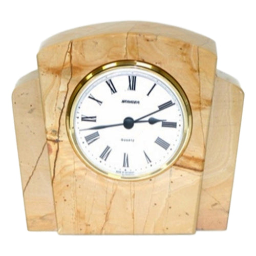 Teak Marble Decorative Desk Clock - Nature Home Decor