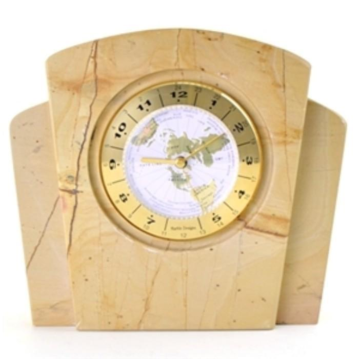 Teak Marble Executive Desk World Clock - Nature Home Decor
