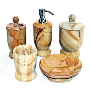 Teakwood Marble 5 Piece Bathroom Accessory Set - Nature Home Decor