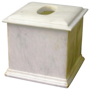 Tissue Box Cover | White Marble Tissue Box Holder - Nature Home Decor
