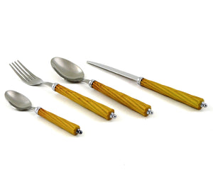 Unique Flatware Set | 24-Piece Flatware Set with Light Wood Finish Resin Handles - Nature Home Decor