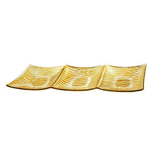 Wave Design 16-inch Gold Plated Serving Tray - Nature Home Decor