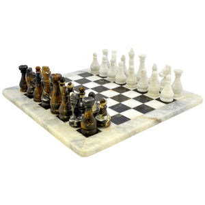 White & Michelangelo Marble Chess Set - Nature Home Decor