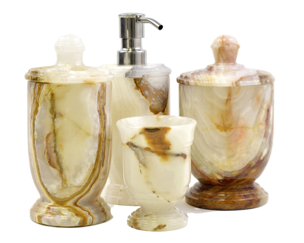 White Onyx 4-Piece Bathroom Accessory Set - Nature Home Decor
