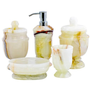 White Onyx Marble | 5-Piece bathroom Accessories Set of Tasmanian Collection - Nature Home Decor