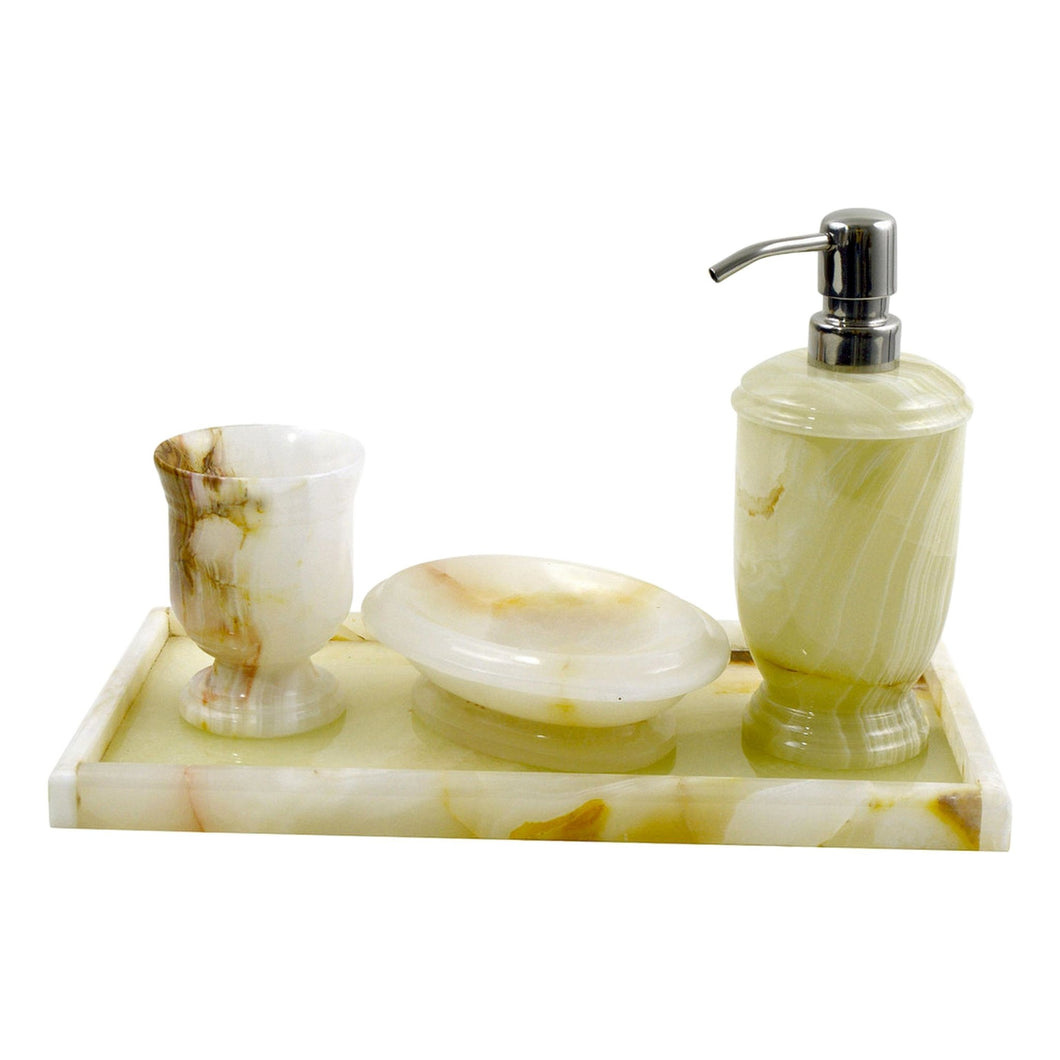 White Onyx Stone | 4-Piece Bathroom Decor Accessory Set with Vanity Tray. - Nature Home Decor