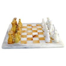 Load image into Gallery viewer, White & Teakwood Marble Chess Set - Nature Home Decor