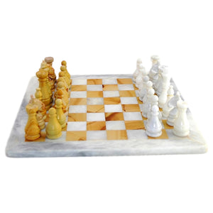 White & Teakwood Marble Chess Set - Nature Home Decor