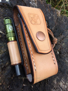 A photograph of our latest design of belt pouch for the 111mm Swiss Army Knife, available with or without a ferro rod loop.