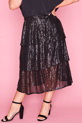 Candice Black Sequin Skirt