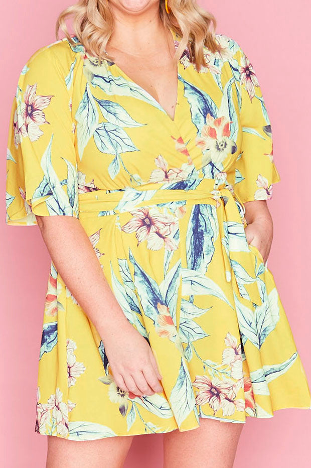 Amie Yellow Floral Playsuit