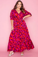 Adeline Pink & Red Maxi Dress