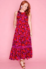Zebina Pink & Red Dress