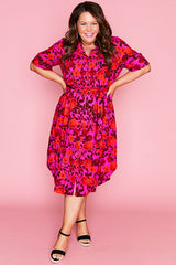 Havana Pink & Red Shirt Dress