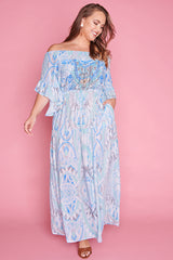Jewels Blue Print Maxi Dress