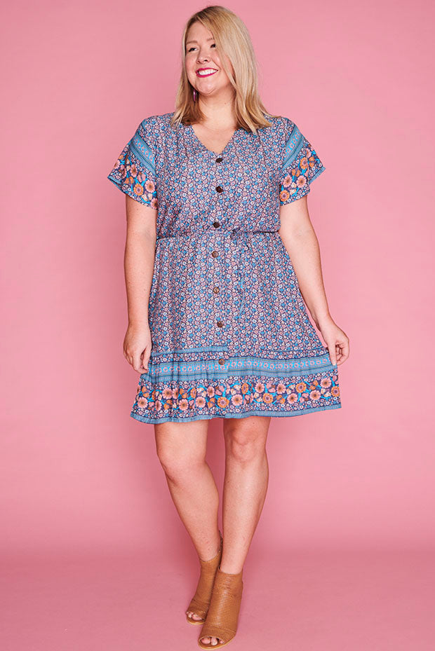 Daniella Teal Floral Dress