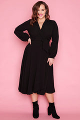 Pia Black Wrap Dress