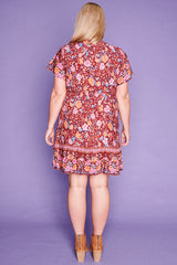 Daniella Burgundy Floral Dress