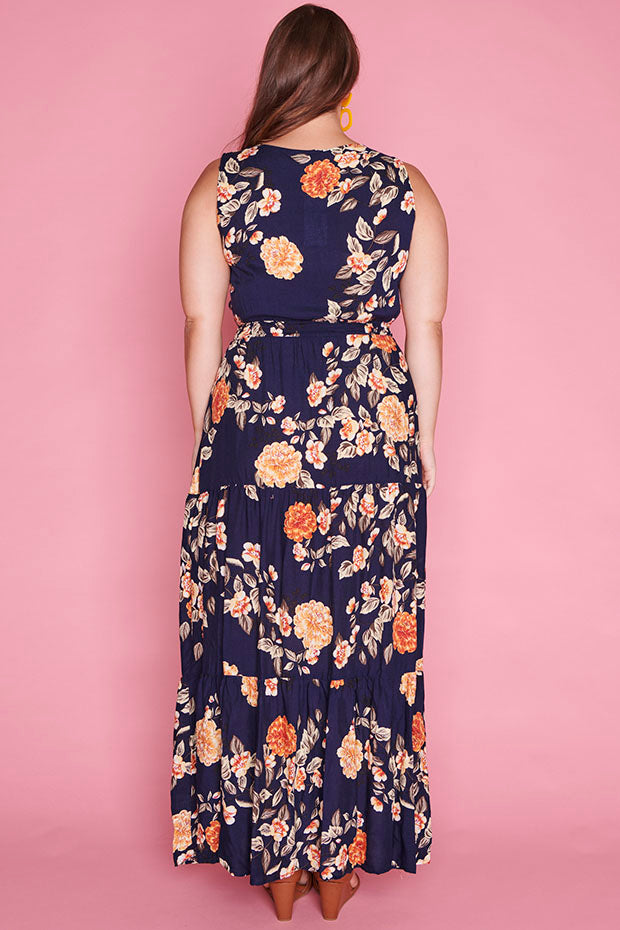 Laura Navy Floral Dress
