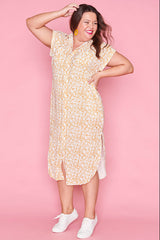 Ryan Yellow Floral Shirt Dress