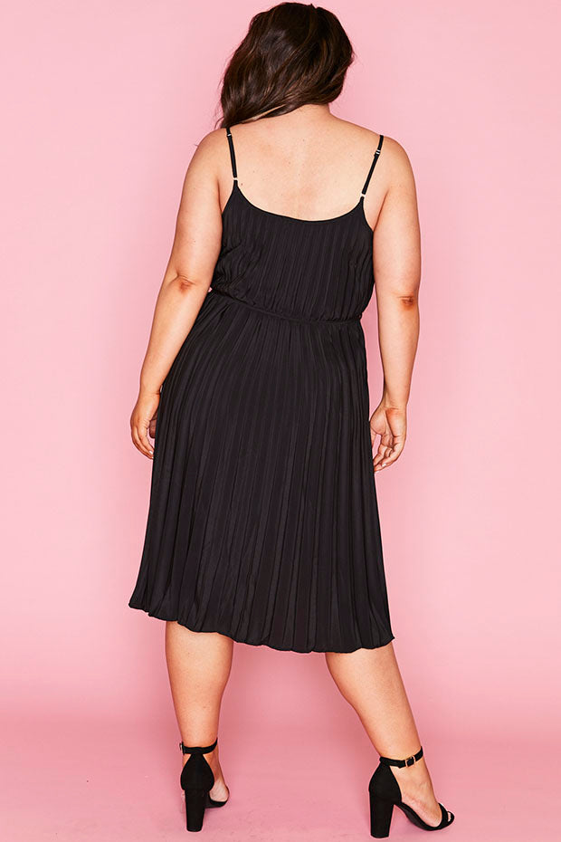 Elodie Black Pleated Dress