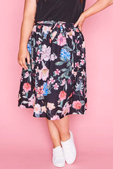 Ada Black Floral Skirt