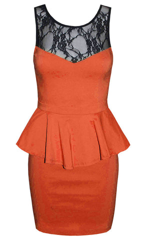 Paris Orange Lace Peplum Dress