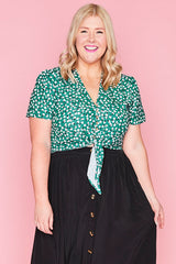 Gabby Green Floral Blouse