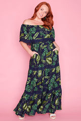 Carmel Navy Tropical Maxi Dress