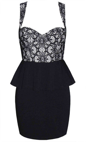 Medusa Black & White Peplum Dress