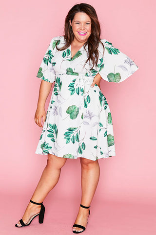 Sarah White Leaf Wrap Dress